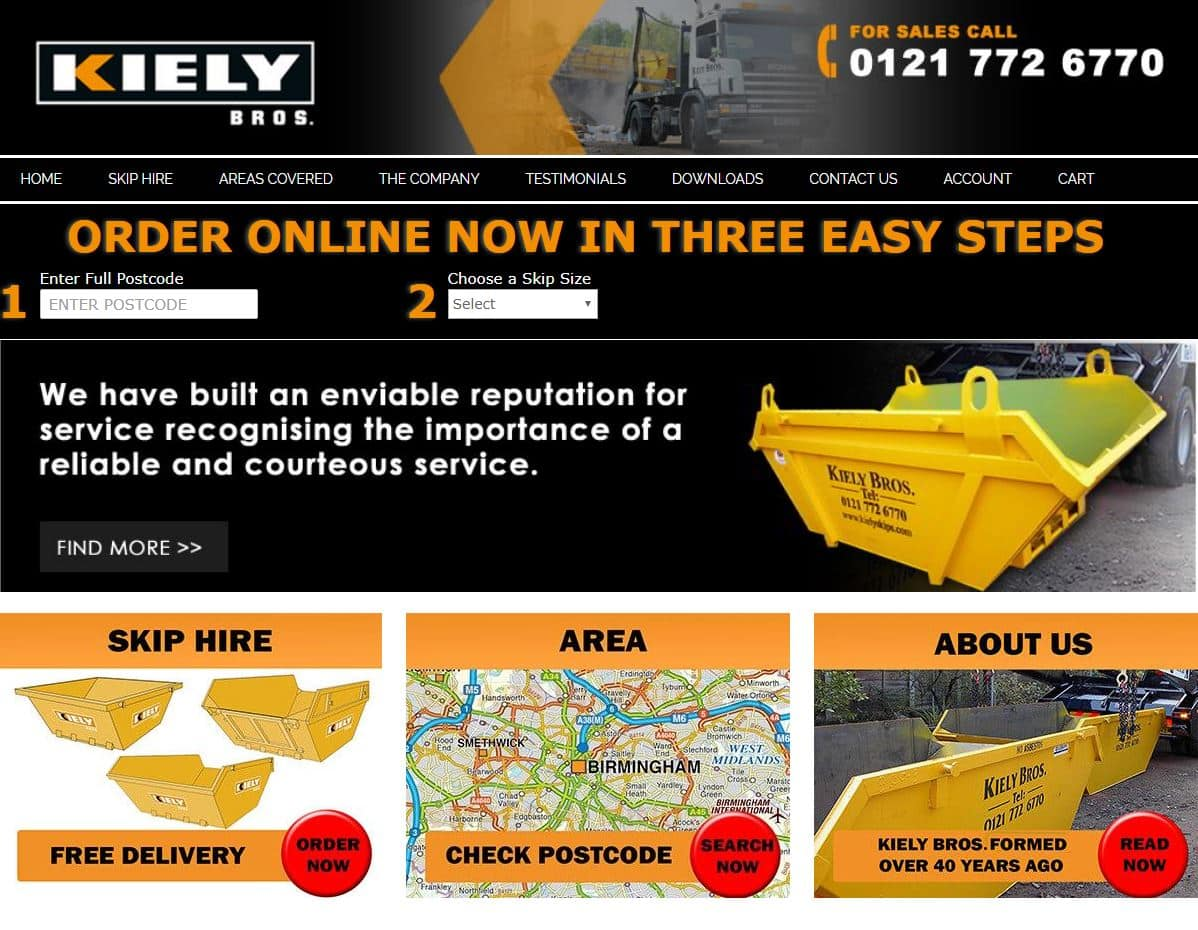 Kiely Skips Magento Website Solution